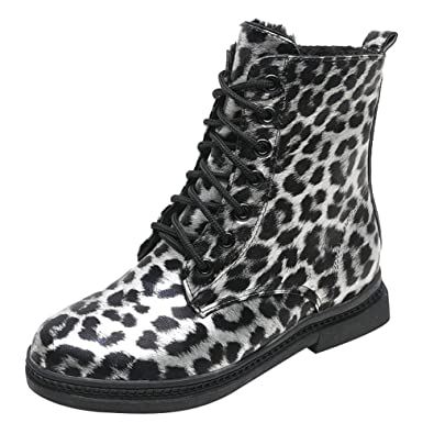 7bfe9cf68ced Mysky Fashion Women Vintage Leopard Print Square Heel Shoes Boot Ladies  Casual Keep Warm Plush Snow