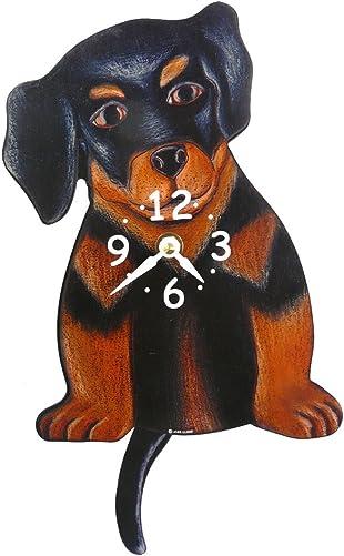 Swinging-Tail Pendulum Dog Wall Clock – Rottweiler