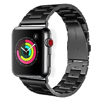 Pinhen Bracelet en acier inoxydable pour montre connectée Apple S4 40 mm-44 mm,