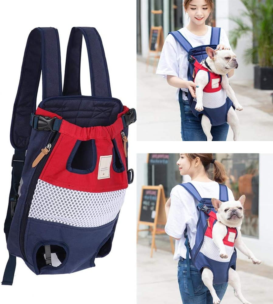 Pssopp Pet Carrier Backpack Adjustable Dogs Cats Front Bags Travel Bag Outdoor Backpack Head Legs Out Hands Free for Walking Travel Hiking Red+Blue
