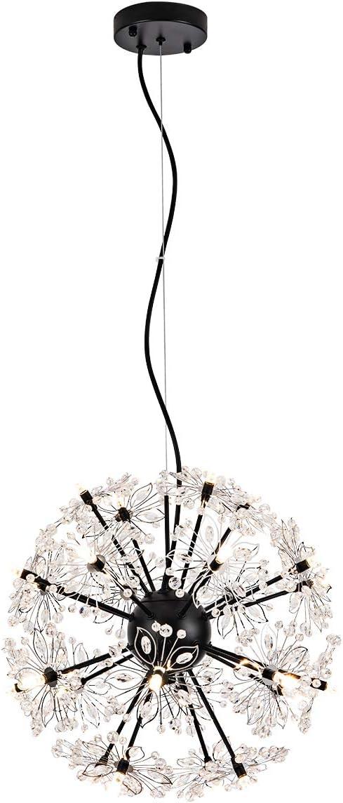 Choohue Modern LED Firework Chandelier, 72W Crystal Dandelion Globe Pendant Lighting Adjustable Crystal Pendant Light for Living Dining Room Bedroom Kitchen, Dia 18 , Matte Black, Bulbs Included