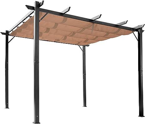Pergola Aluminio 4L x 3L X 2,65h M Pergola retráctil estructura alu + lienzo poliéster de alta densidad 180 g/m² incluida Chocolate negro 55bk