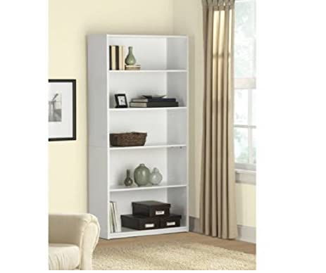 Mainstays 5 Shelf Wood Bookcase, Contemporary Style 3 Adjustable Shelves  Solid Back Panel (