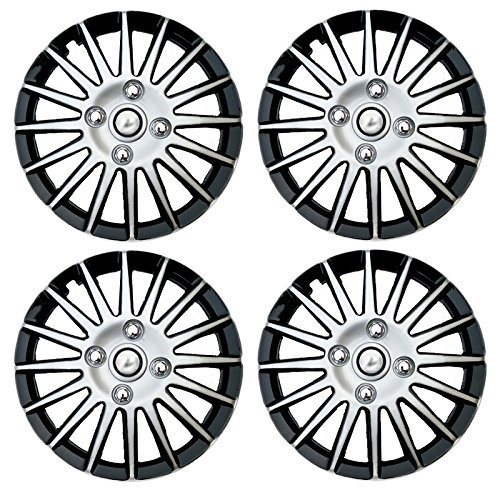 Autorepute Full Wheel Cover Cap Silver Black 15 Inches Press Type