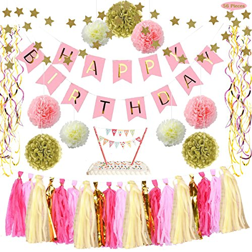 Happy Party Decoration Supplies Kit - Rainbow Cake Topper Pink Banner PomPom Tissue Flower Tassel Hanging Foil Swirl Gold Star Garland for 1st Birthday Girl Decor, Decorate for Unicorn/ Princess Theme (Birthday Cake Decorate A)