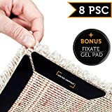 #4: Rug Grippers by Mister Gripper – 8 pcs Black Anti Curling Rug Gripper. Anti Slip Straight Carpet Gripper for Corners and Edges - Anti Slip Rug Pad for Rugs - Ideal Rug Stopper For Kitchen | Bathroom