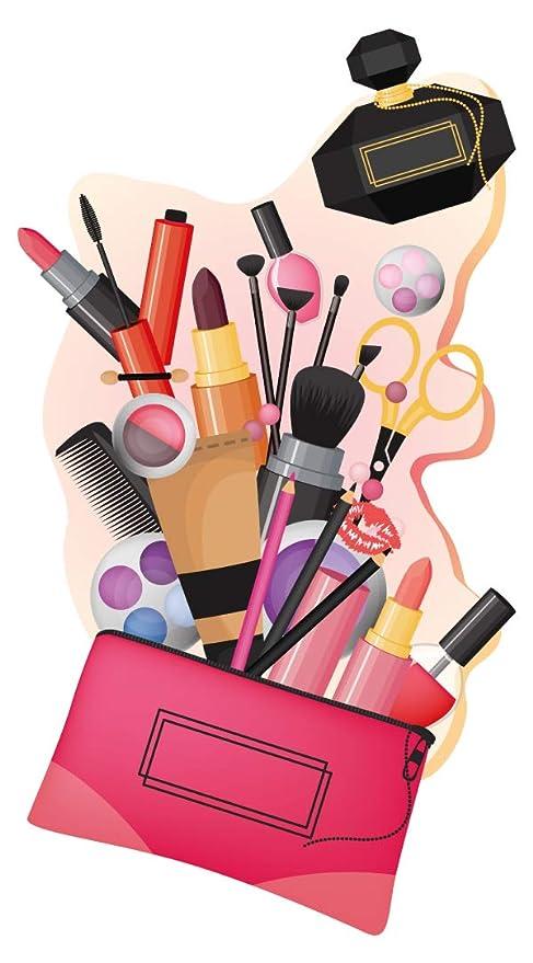 Pegatina de pared Salón Pegatina de Belleza Bolsa de maquillaje de colores con utensilios de maquillaje