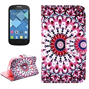 Flower Bud Pattern Cross Texture Leather Case with Holder & Card Slots for Alcatel One Touch Pop C3