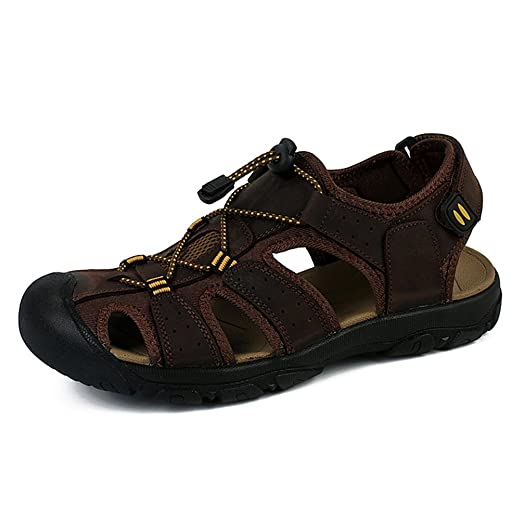 Jonas Men's Lether Sports Fisherman Sandals Trail Outdoor Water Shoes Walking Sandals