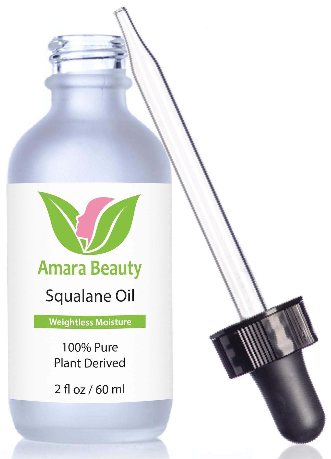 Amara Beauty Squalane Oil Moisturizer with 100% Pure Plant Derived Squalane for Face, Body, Skin and Hair, 2 fl. oz. by Amara Beauty