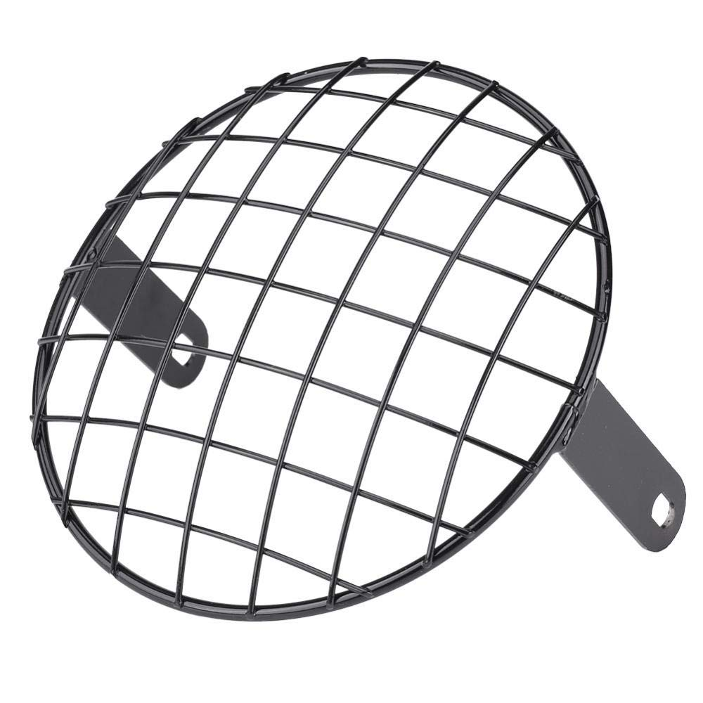 Motorcycle 7'' Headlight Mesh Grill Side Mount Universal Cover Mask for Cafe Racer (black)