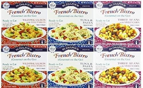 St. Dalfour Gourmet On the Go, Ready to Eat– Variety 6 Pack (2-Wild Pink Salmon, 2-Tuna & Pasta, 2-Three Beans W/Sweet Corn)—(6 Pack X 6.2 Oz)