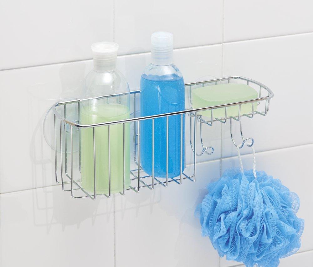 Amazon.com: mDesign Bathroom Shower Suction Basket for Shampoo ...