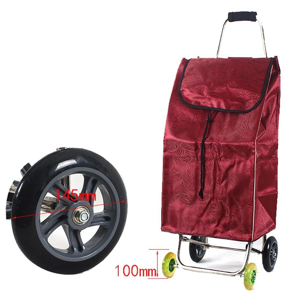 ZGL トラック トロリー家庭用ステンレススチール折りたたみカートポータブル4ホイールショッピングカート荷物用バッグカー (色 : 赤) B07D7Y4WJW 赤 赤