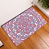 gel kitchen mats uk YJ Bear Thin Vintage Bohemian Flower Pattern Print Rectangle Doormat Entry Mat Home Decor Carpet Kitchen Floor Runner Indoor Floor Mat Red 20