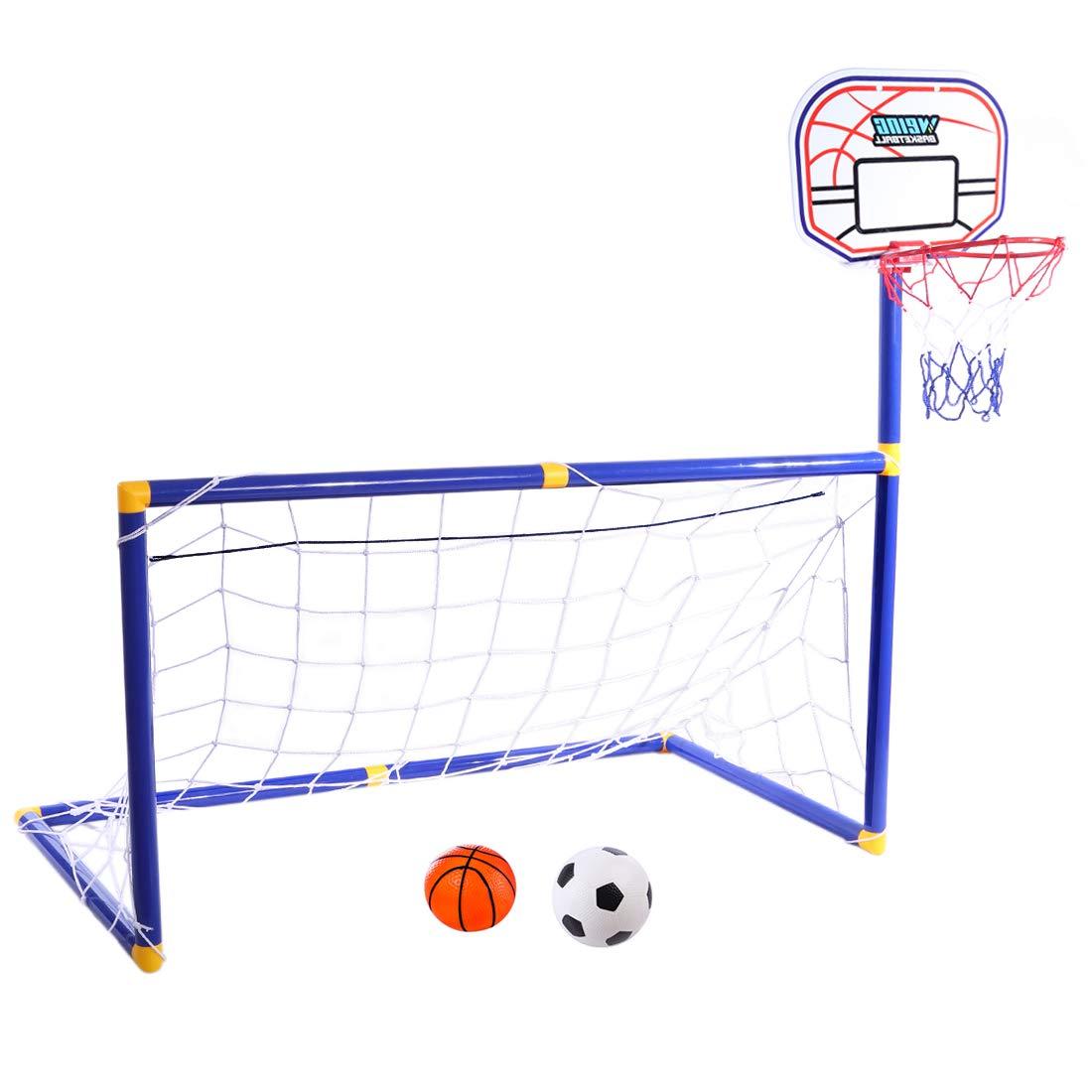 YAKOK porta da calcio bambini, 87* 88* 45cm bambini da calcio e pallacanestro Hoop set per calcio per bambini indoor e outdoor sport, box Package, Blue, Red, 87 * 88 * 45cm