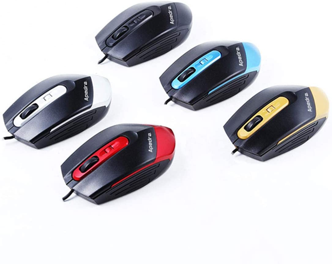 Color : Blue Black Hexiaoyi Office Business Wired USB Mouse 3-Button USB Wired Mouse Computer for PC Laptop Mac Desktop