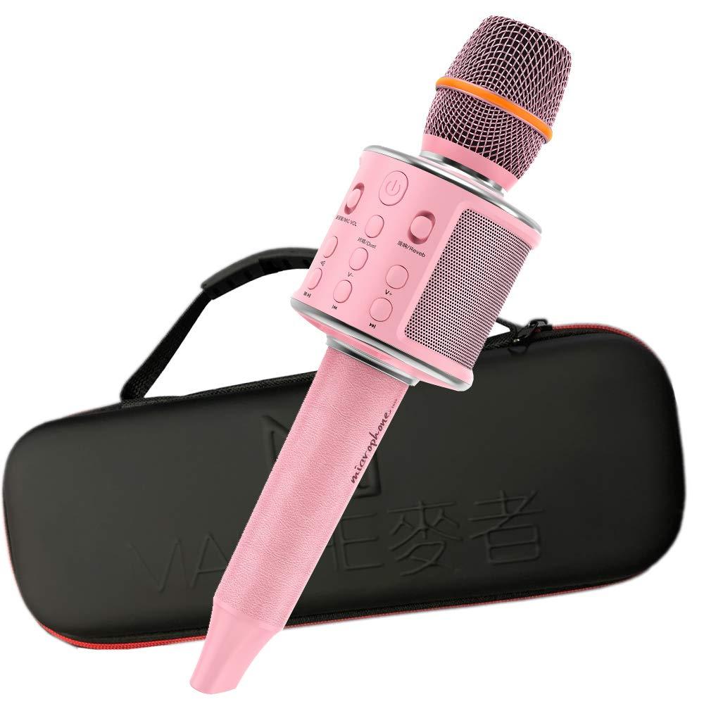 Wireless Bluetooth Karaoke Microphone Leather Portable Handheld Karaoke Mic Speaker Machine with