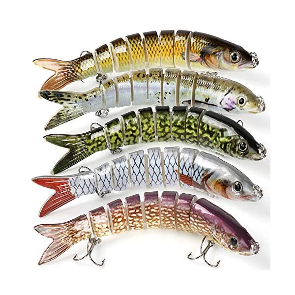 REAWOW 5x Pike Fishing Lures Multi-jointed Swimbaits 5.3inch