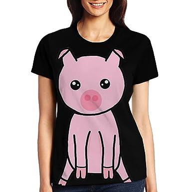 7d9dad1b Womens 3D Digital Printed Only Pig Paradise Short Sleeve T Shirts Tees
