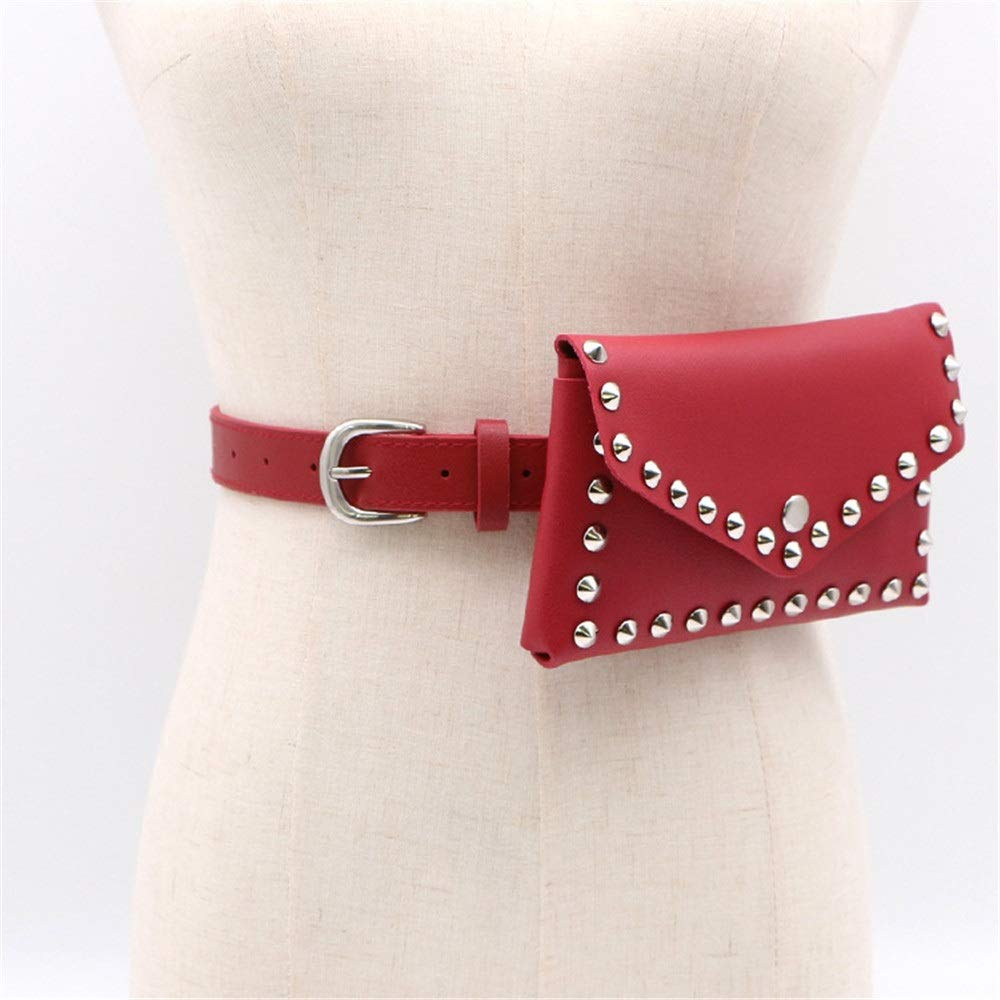 Women Belt Bags Womens Belt Bags Pointed Rivets PU Leather Waist Bag Snap Fanny Pack Adjustable Removable Belt with Waist Pouch Travel Bumbag Cell Phone Money Pouch for Women Cross Body