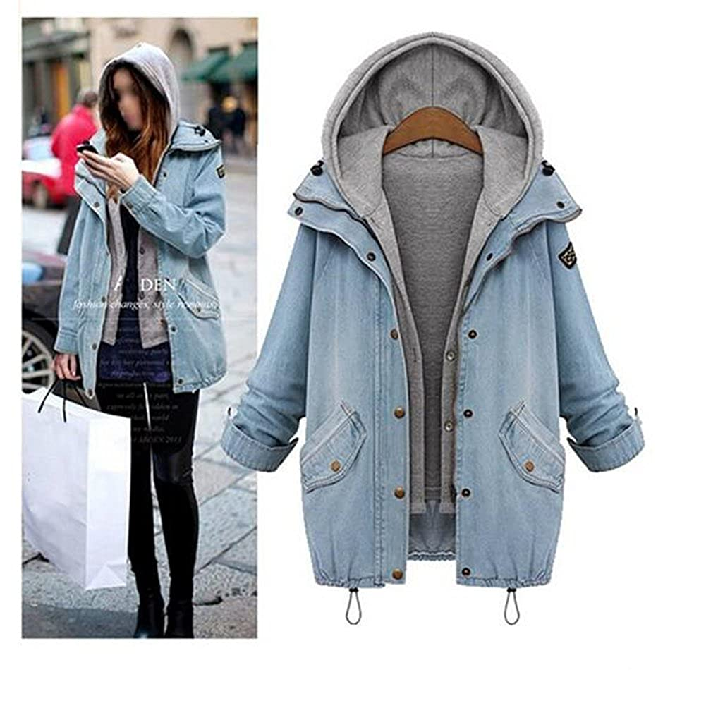 Women's Drawstring Boyfriend Hooded Vest Plus Size Jeans Denim Jacket Two Piece Coats Bopstyle