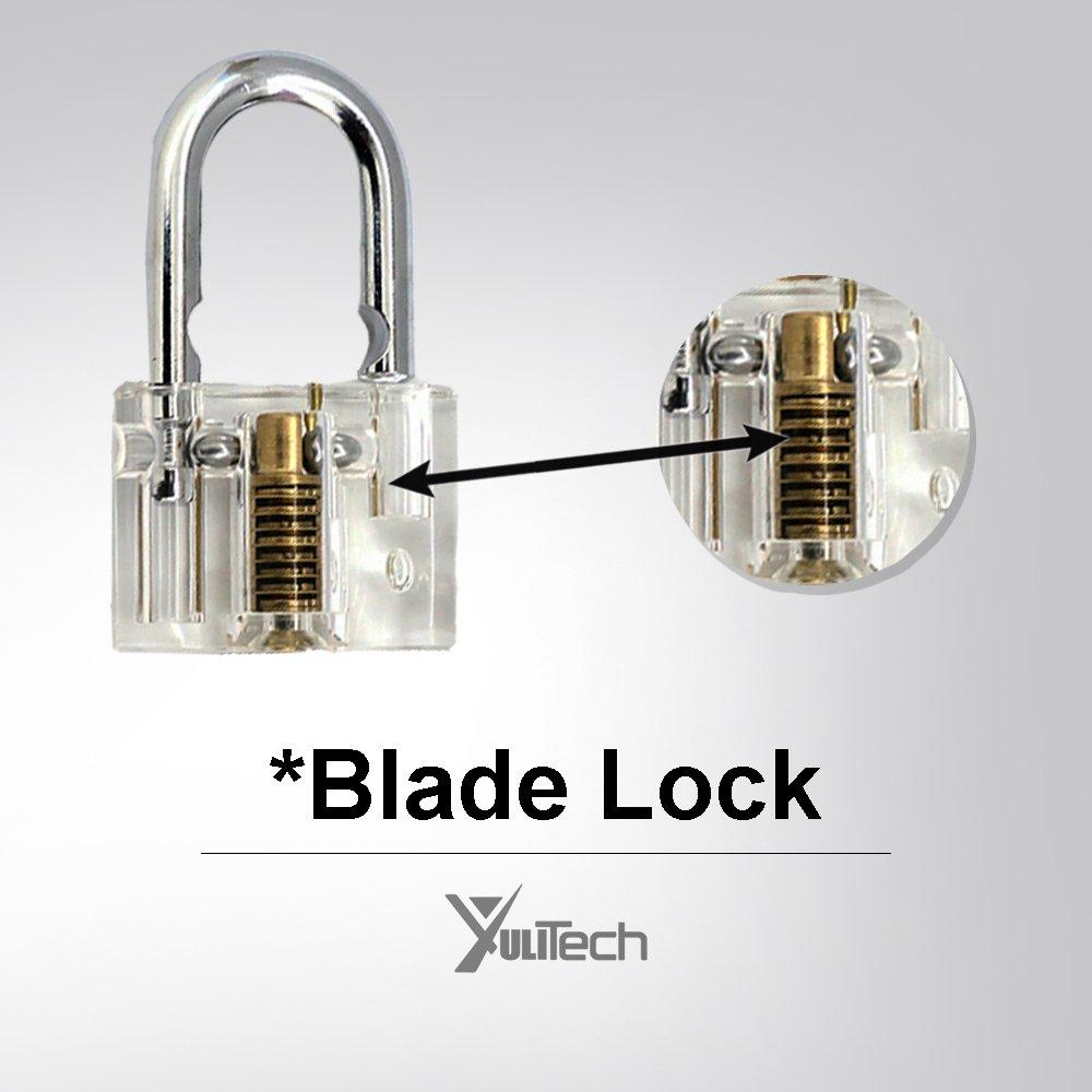 YuliTech Practice Lock Set, Transparent Cutaway Crystal Pin Tumbler Keyed Padlock, Cylinder Lock and Blade Lock.