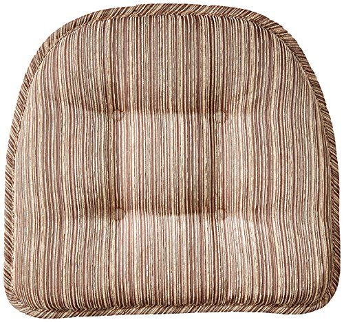 "Klear Vu Gripper Non-Slip Sophia Stripe Tufted Chair Cushions, 15"" x 16"", Brown"