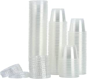 [200Sets-1oz] Small Plastic Containers With Lids,Plastic Cups With Lids,Jello Shot Cups,Souffle Cups,Condiment Sauce Cups