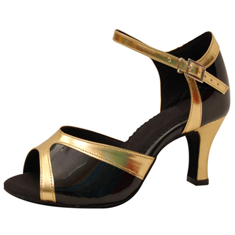 Noir or YFF  Les femmes cadeaux Chaussures de danse de bal danse latine chaussures de danse tango 7CM 34 EU
