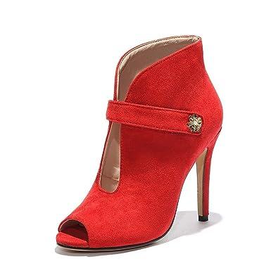 DIMAOL Chaussures Pour Femmes Fleece Printemps Automne Pompe de Base Talons Talon Chaussures Pour Mariage et Soirée Rouge Jaune Blanc,Rouge,US4-4,5/EU34/UK2-2,5/CN33