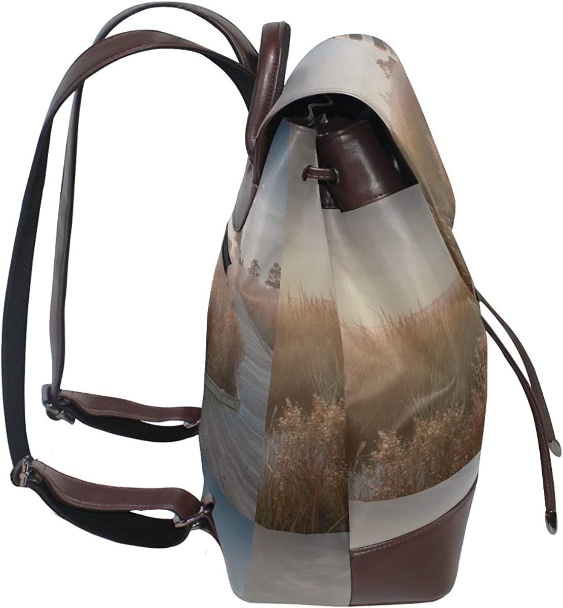 Lighthouse Sunset Ocean View Ladies Leather Backpack Women Leather Backpack Drawstring Waterproof Backpack Bag Leather Unique Shoulder Bags For Women