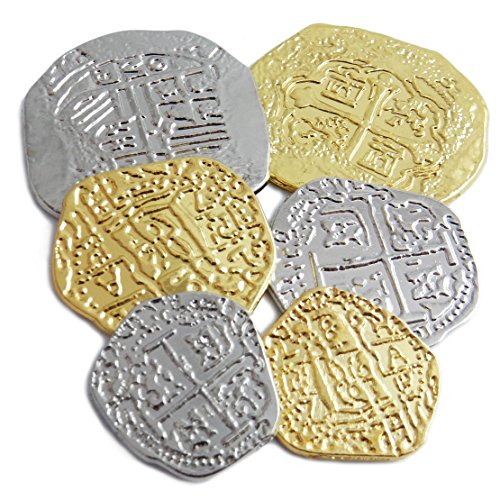 Lot of 6 Assorted Sizes Metal Pirate Treasure Coins - Shiny Gold and Silver Doubloon Replicas]()