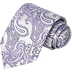 KissTies Necktie Set Lilac White Paisley Tie + Pocket Square