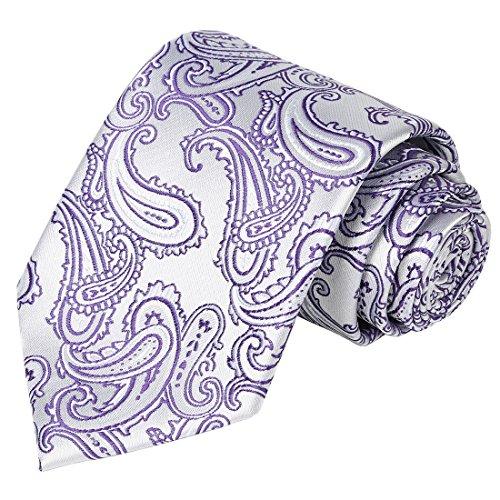 White Lilac Square - KissTies Necktie Set Lilac White Paisley Tie + Pocket Square