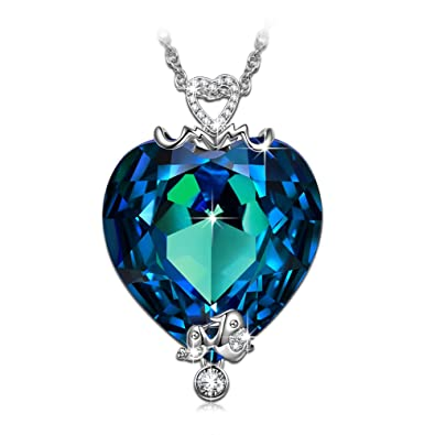 QIANSE Christmas Necklace Gifts For Mom Swarovski Crystals Pendant Jewelry Birthday