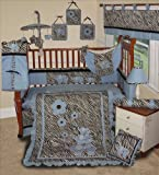 SISI Baby Boy Boutique - Blue Zebra 15 Pc Baby Bedding Nursery Crib Set Reviews