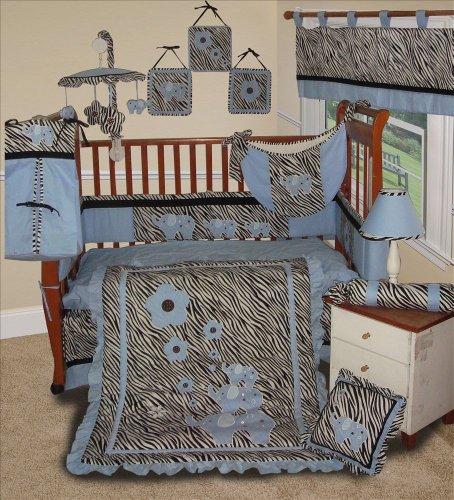 SISI Baby Boy Boutique - Blue Zebra 15 Pc Baby Bedding Nursery Crib - Boutique Zebra