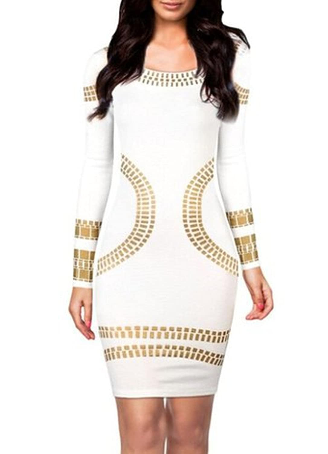Menglihua Cut Out Kim Egypt Gold Foil Print Long Sleeves Cocktail Bodycon Dress