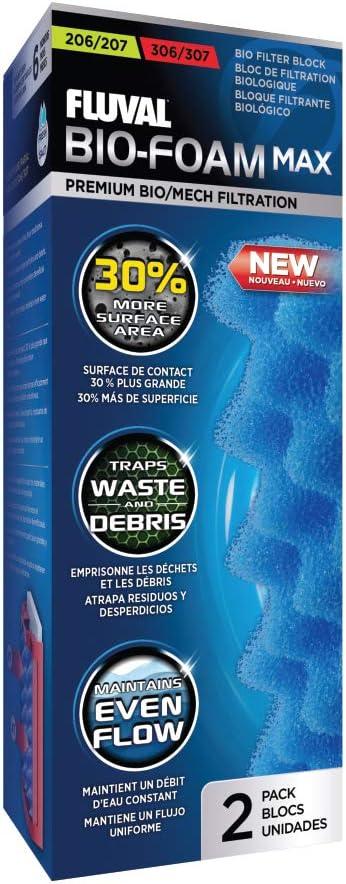 Fluval Bio-Foam Max Bloque de filtración biológica, paquete de 2