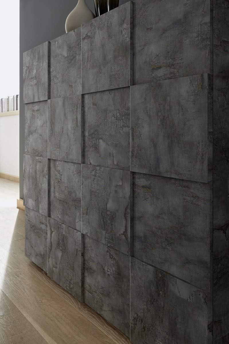 Arredocasagmb.it Mobile Contenitore 2 Ante 4 cassetti Moderno OSSIDO Grigio Scuro Industrial materico Soggiorno Madia Buffet con sportelli Design Dame 08