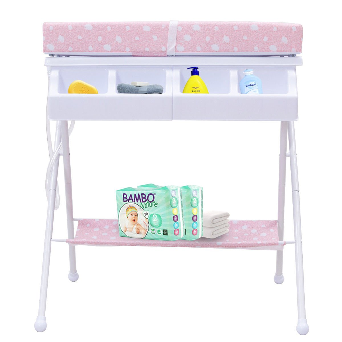 Folding Diaper Station Nursery Organizer for Infant Costzon Baby Changing Table Black