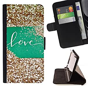 For Samsung Galaxy S4 IV I9500 Glitter Green Sign Gold Sweet Style PU Leather Case Wallet Flip Stand Flap Closure Cover