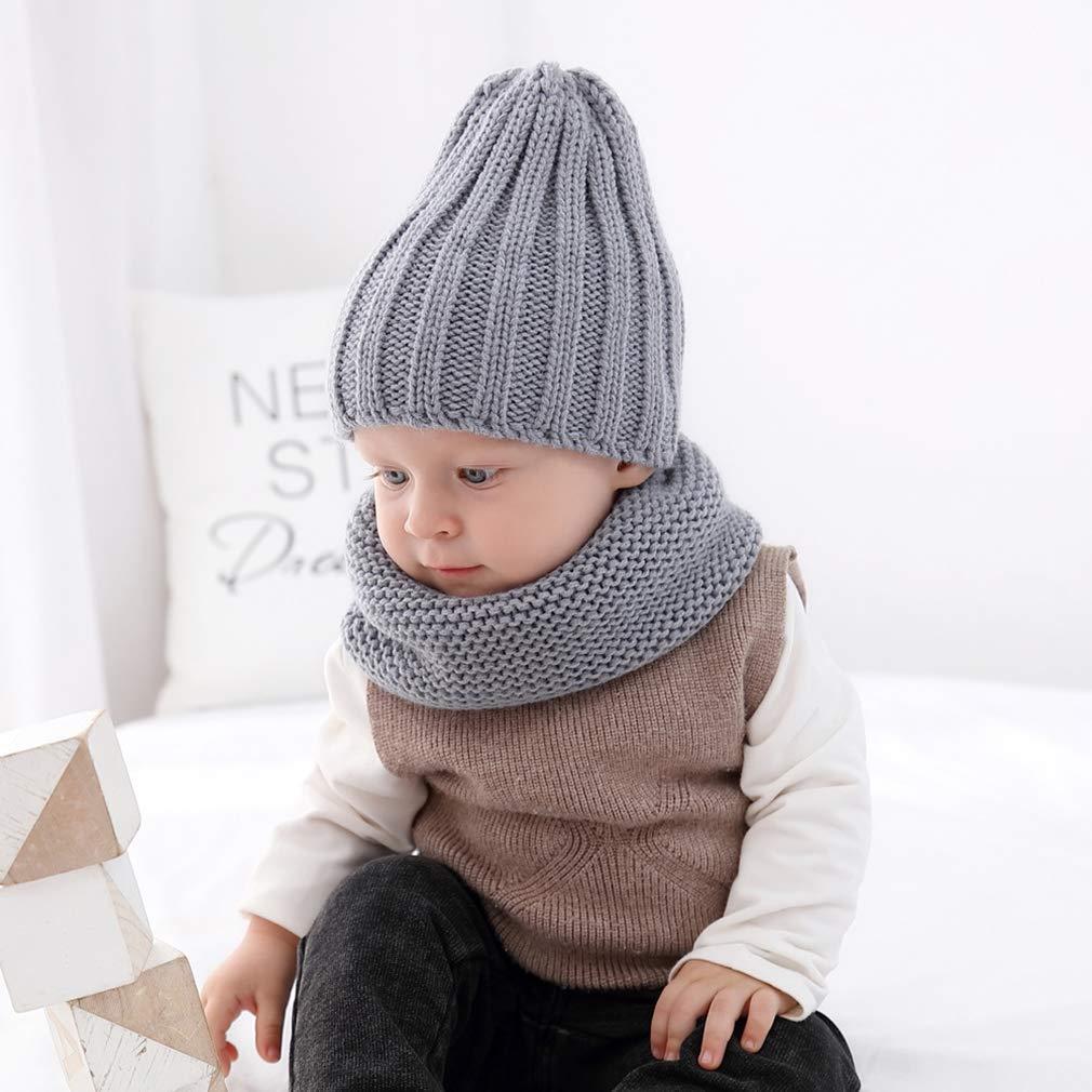 Ever Fairy Kinder sch/öne weiche H/äkelarbeit Stricken Hut Schal Herbst und Winter warm Kleinkind Baby zweiteiliges Set