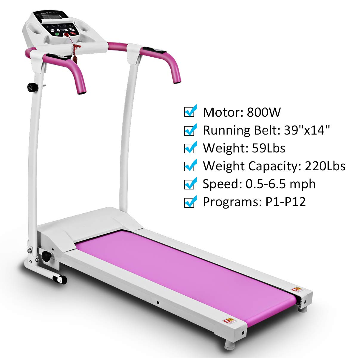 Goplus 800W Folding Treadmill Electric Motorized Power Fitness Running Machine with LED Display and Mobile Phone Holder Perfect for Home Use (Pink) by Goplus (Image #5)