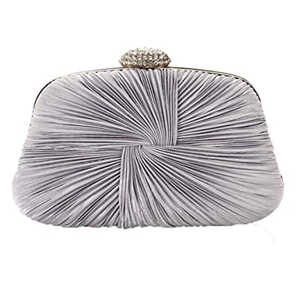 259f5878c6 Image Unavailable. Image not available for. Color  Superw Womens Pleated  Satin Evening Handbag Clutch with Detachable Chain Strap Wedding Cocktail  Party Bag ...