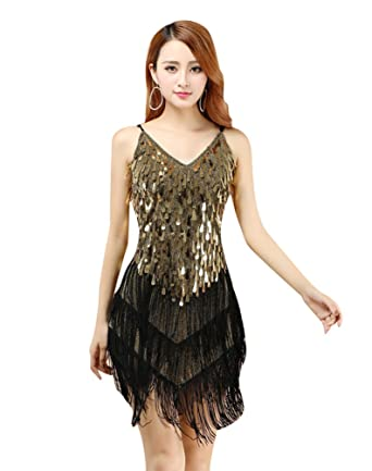YiJee Women Sequin Tassel Dresses Sling Paisley Pattern Tiered Latin ...