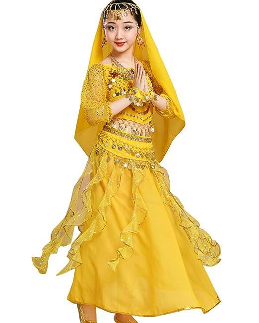 Guiran Niñas Mujer Traje De Danza del Vientre Lentejuela Baile India Top Falda Halloween Carnaval Fiesta Costume