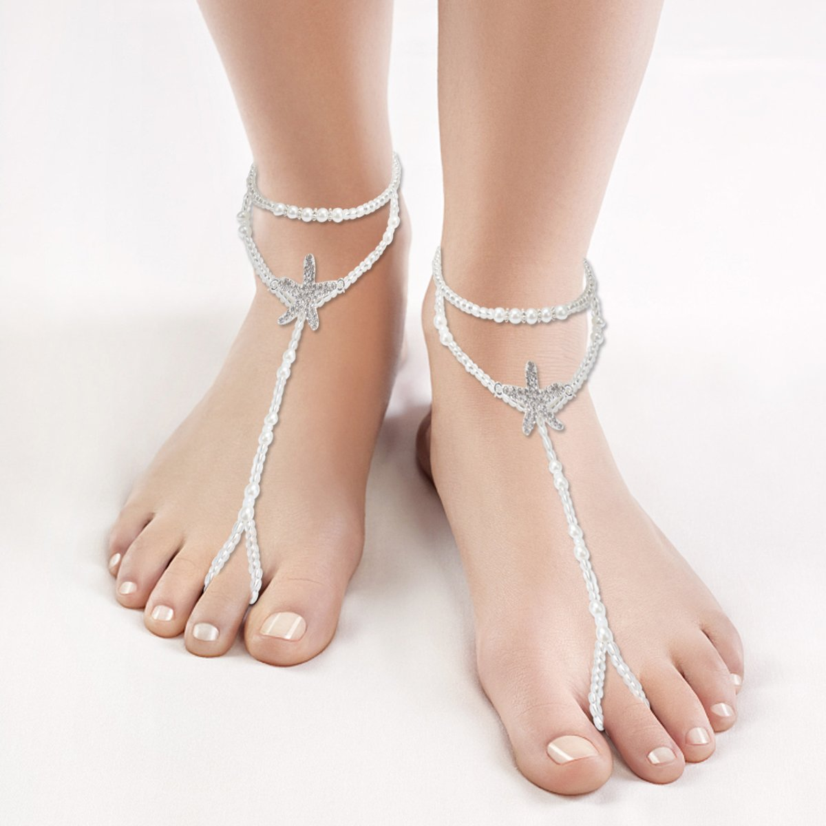 Ondder 1 Pair Anklet Foot Jewelry for Women Barefoot Sandals Beach Wedding Bridal Accessories,Bridesmaids Gift
