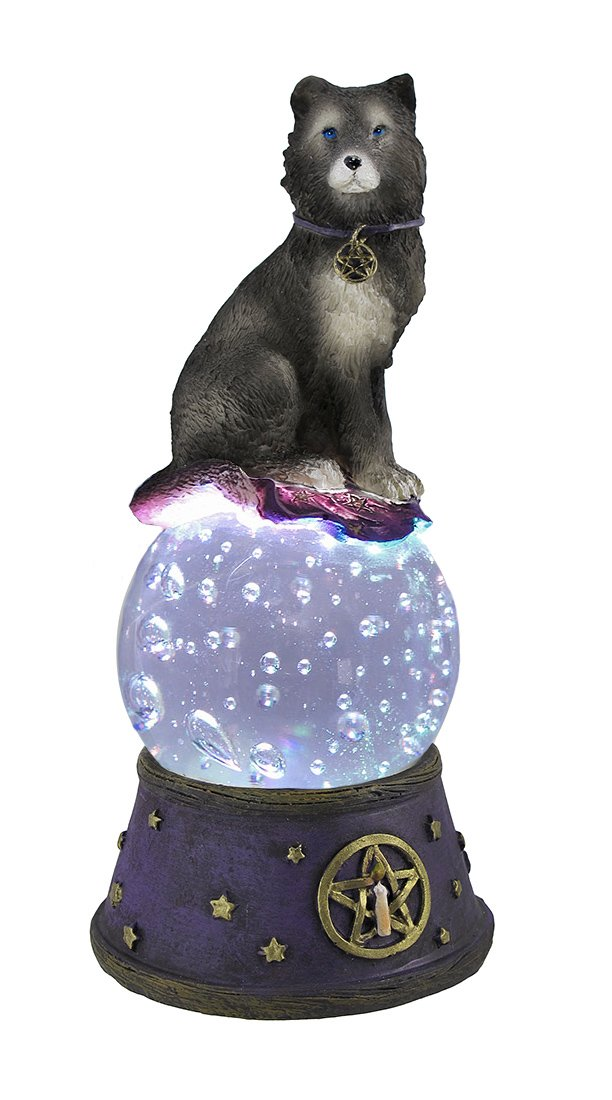Things2Die4 Majestic Wolf LED Lighted Crystal Ball Statue Pagan Wicca Pentacle